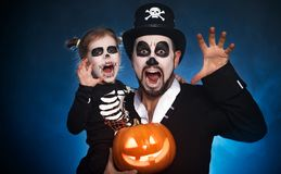 Family father and daughter in costumes and make-up to Halloween Stock Photos