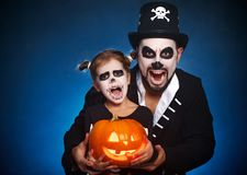 Family father and daughter in costumes and make-up to Halloween Stock Photography
