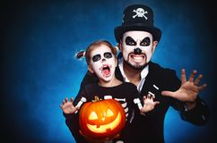 Family father and daughter in costumes and make-up to Halloween Stock Image