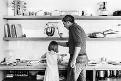 Family Father Girl Making Cookies Learning Baking Concept Royalty Free Stock Photography
