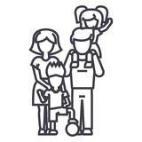 Family,on father s shoulders, mother holding son,son with ball vector line icon, sign, illustration on background vector illustration