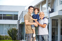 Family with father, son and grandfather Royalty Free Stock Image