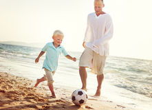 Family Father Son Playing Football Togetherness Concept stock photos