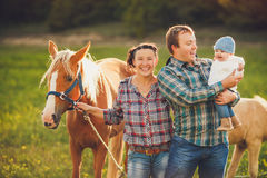 Family feeding horses in a meadow Stock Photo