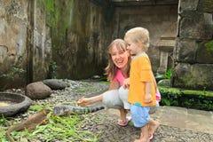 Family feeding iguanas Stock Photo