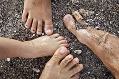 Family feet. Family together on vacation, feet in the sea sand royalty free stock photography