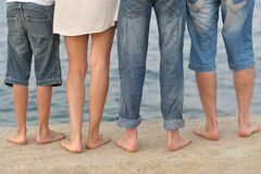 Family feet on beach Royalty Free Stock Photography