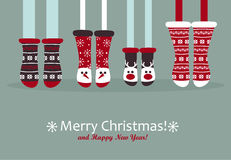 Family feet in Christmas socks. Winter holiday concept. Happy new year Greeting Card. Vector illustration Royalty Free Stock Photo