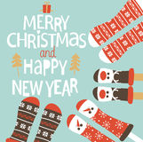 Family feet in Christmas socks. Winter holiday concept. Happy new year Greeting Card. Vector illustration Stock Photography