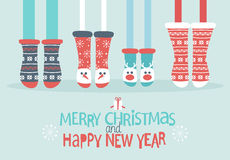 Family feet in Christmas socks. Winter holiday concept. Merry Christmas and Happy new year lettering. Vector illustration Royalty Free Stock Images