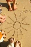 Family feet on the sand on the beach. A Family feet on the sand on the beach Stock Image