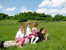 Family on the field royalty free stock photo