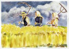 Family in the field. In watercolor technique Stock Photography