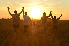 Family in field Royalty Free Stock Image
