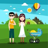 Family on Field. Man and Woman with Baby Carriage. Vector Illustration vector illustration