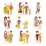 Family Figures Icons Set Stock Photos