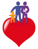 Family figures and red heart. Outline of abstract family people figures with a red heart in the background Stock Image