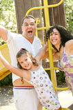 Family filled with excitement Stock Photo