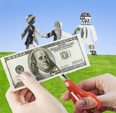Family finances. We cut up family finances or life in credit Stock Image