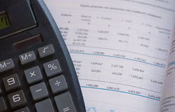 Family finances. With a financial statement and a calculator Royalty Free Stock Images