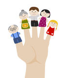 Family finger puppets. Vector illustration. Family finger puppets. Grandparents and parents with child. Cartoon vector illustration of happy puppet family Stock Photo