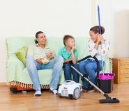 Family finished housework Stock Images