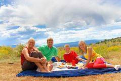 Family first picnic. First family picnic in Colorado Rockies Stock Photography