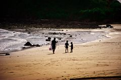 Family of the fisherman. Comes back from fishing Stock Images