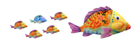Family fishes with Diferent fish. Father or mother fish with little diferent son Royalty Free Stock Images