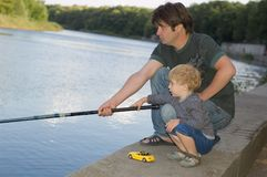 Family fishing Stock Photo