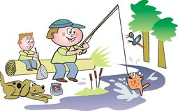 Family fishing cartoon. Cartoon illustration of father and son fishing in outdoor setting Stock Photography