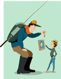 Family fishing in a digital age. Man in outdoors clothes, with a backpack and fishing rod, showing a small fish to a little boy. Boy, dressed in urban fashion Stock Photo