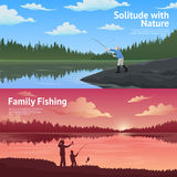 Family Fishing Horizontal Banners Set. Family fishing in the countryside 2 flat horizontal banners set about outdoor activities abstract  vector illustration Stock Photography