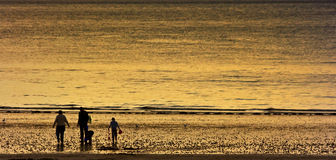 Family Fishing At Sunset. Silhouette of a man, woman and two children fishing at the seaside Royalty Free Stock Photos