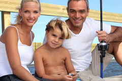 Family fishing together Stock Photography