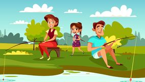 Family fishing vector cartoon illustration. Family fishing vector illustration of mother, father and daughter on weekend holiday. Cartoon family together spend Stock Photo