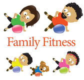 Family fitness with exercise ball 2 vector illustration