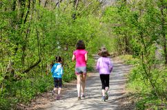 Family fitness and sport, active mother and kids jogging outdoors, running in forest. Family fitness and sport, happy active mother and kids jogging outdoors stock photography
