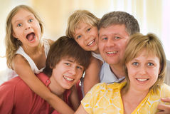 Family of five. On a light background Stock Images