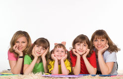 Family of a five. Happy family of a five on the carpet royalty free stock photo