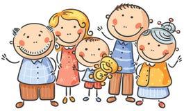 Cartoon family of five Stock Photography
