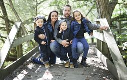 Family of five member in Woods Together. A Family of five member in Woods Together royalty free stock photography