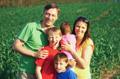 Family of a five at nature Stock Images