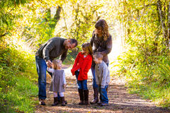 Family of Five Outdoors Stock Image
