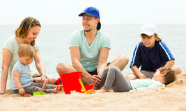 Family of five in a summer holiday Stock Photography