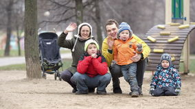 Family of five waving with the hands. stock footage