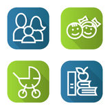 Family flat linear long shadow icons set. Baby carriage, children, apple and books. Vector line illustration. Royalty Free Stock Image
