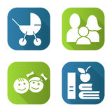 Family flat long shadow icons set. Baby carriage, children, apple and books. Isolated vector illustration Stock Images