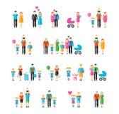 Family flat style icons Stock Image