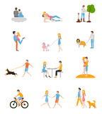 Family flat style icons. Royalty Free Stock Images